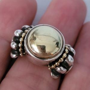 LAGOS Caviar Sterling Silver 18K Gold Ring